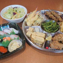 仲良し浜水セット(2~3人前)お寿司10貫盛り・唐揚げ・ポテトフライ・天ぷら盛り・焼鳥・シーザーサラダ・厚焼き玉子・枝豆のお得なセットです。